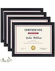 PETAFLOP 8.5x11 Certificate Frames, Black Picture Diploma Frame Set of 4 for Certificate Document Protection, Wall and Tabletop Mounting Type