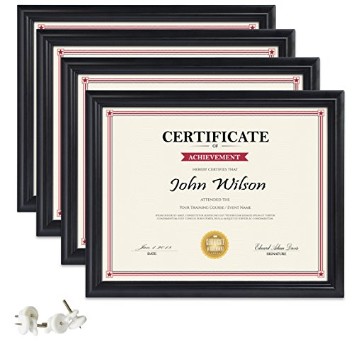 (PETAFLOP 8.5x11 Picture Frames 4pcs Black Diploma Frame Set for Certificate Document Protection Wall and Tabletop Mounting Type)