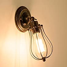 Vintage Sconce Industrial Style Mini Wire Cage Wall Lamp ;Moonkist
