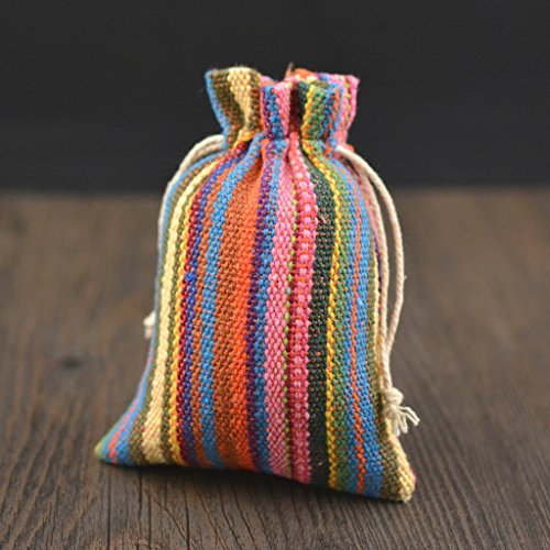 (Set of 15 Pack Colorful Burlap Bags with Double Drawstring for Wedding Party and DIY Craft (5.5