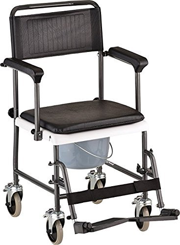 Caremax All-In-One Chrome Steel Shower / Commode Wheelchair with Drop-Arm Armrests