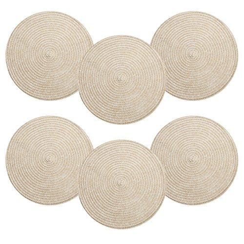 Place Mat, U'Artlines Round-Shapped Braided 15 Inch Crosswea