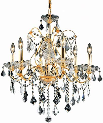 Elegant Lighting 2015D24G EC Cut Clear Crystal St. Francis 6-Light, Single-Tier Crystal Chandelier, Finished in Gold with Clear Crystals