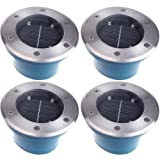 (4 Pack) Commercial Grade Aluminum Solar Recessed 4 LED Deck Dock Driveway Light