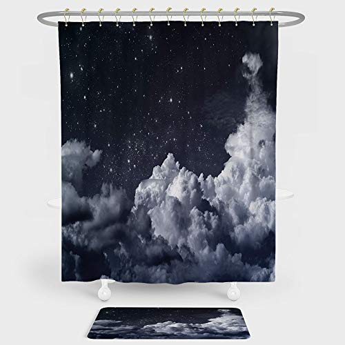 iPrint Night Sky Shower Curtain And Floor Mat Combination Set Nocturnal Cloudy Astronomical Sky Space Telescope View of Stars Image Decorative For decoration and daily use Blue Grey and White