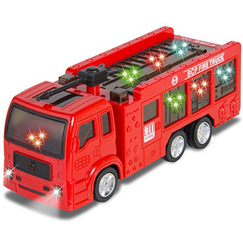 [Kids Toy Fire Truck Electric Flashing Lights and Siren Sound, Bump and Go Action by Eight24hours] (Fire Dog Costume For Toddler)