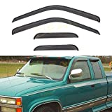 DEAL 4-Piece Set Vent Smoke Window Visor, Side Window Deflector With Outside Mount Tape-On Type, Custom Fit For 1988-2000 Chevy/GMC C1500 C2500 C3500 K1500 K2500 K3500 Extended Cab