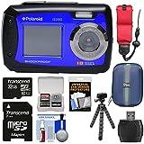 Polaroid iE090 Dual Screen Shock & Waterproof Digital Camera (Blue) 32GB Card + Case + Flex Tripod + Float Strap + Kit