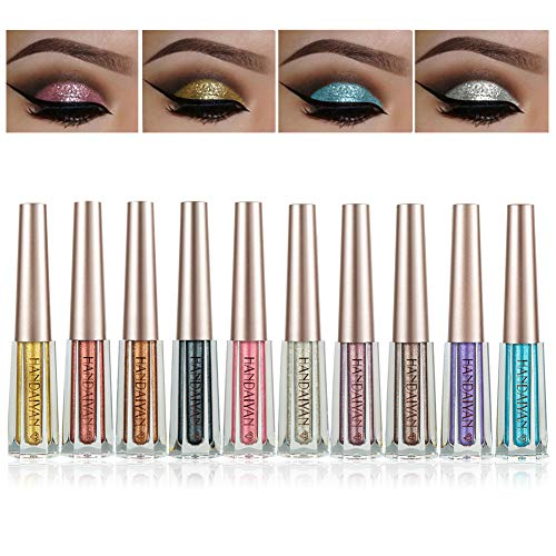 BONNIE CHOICE 10 Colors Glitter Liquid Eyeliner Set, Long Lasting Waterproof Sparkling Eyeliner Eye Shadow Metallic Glitter Eyeliner Pen Shimmer Eye Shadow for Parties, Cosplay, Masquerad