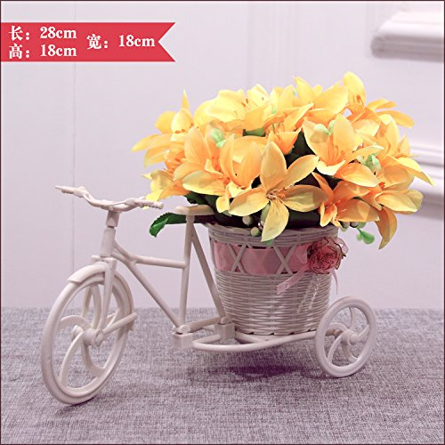 XHOPOS HOME Artificial Flowers Bicycle Flower Baskets Lily Yellow Decorative Fake Flowers For Bridal Bouquet Home Party And House Decor Garden (Yellow Lily Basket)