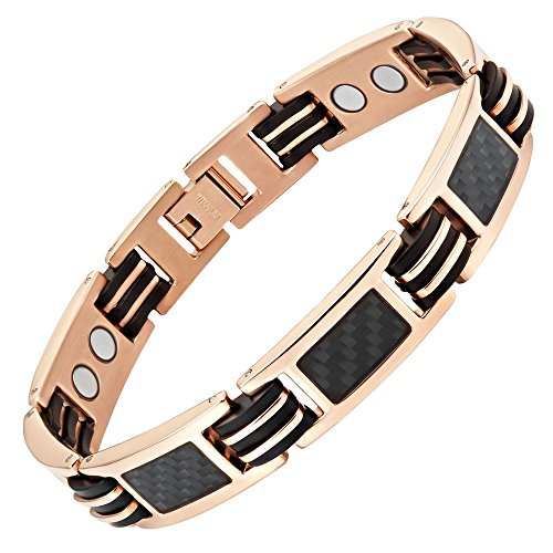 - Willis Judd Carbon Fiber Titanium Magnetic Bracelet Rose Gold Tone Size Adjusting Tool and Gift Box Included