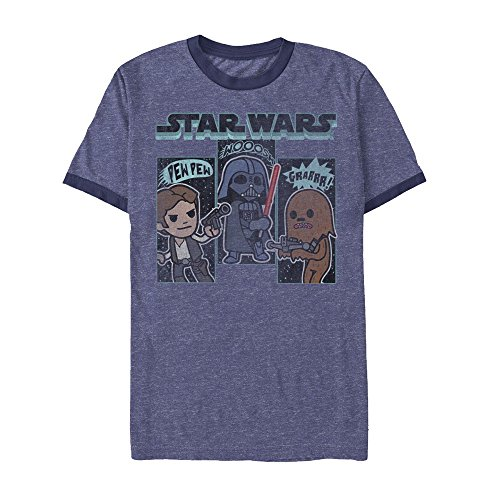 Star Wars Men's Official 'Sound Effects' Premium Ringer Graphic Tee, Blue Heather/Navy, X-Large (Navy Classic Ringer T-shirt)