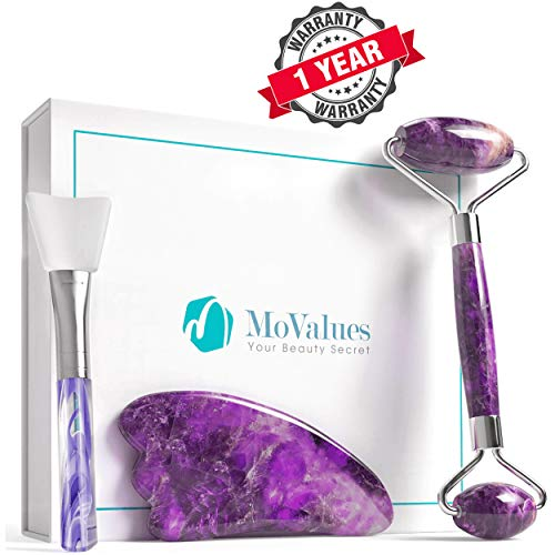 Authentic Amethyst Jade Roller and Gua Sha Set - Jade Roller for Face - Face Roller for Wrinkles, Anti Aging - Authentic, Durable, Natural, No Squeaks - with Mask Brush (Amethyst)