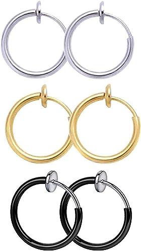 Retractable Earrings No Need Piercing Fake Earrings Fake Nose Lip Ear Ring Stud Hoop Piercing Punk Non-pierced Earring Hoops Body Jewellery for Men and Women.
