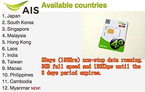 AIS 8Day/4GB Data Roaming-Singapore,Korea,Malaysia,India,Burma,Cambodia,Philippines,Laos,Taiwan,HK,Maccu,Japan, by AIS (Image #1)