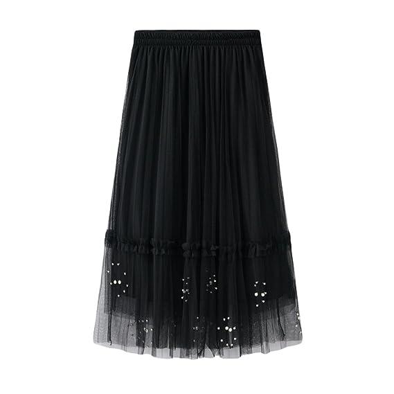 Yiiquanan Damen Elegant Chiffonrock mit Perlen Spleißendes Design A-Linie  Rock Lang Festlich Maxirock (Aprikose, One Size)  Amazon.de  Bekleidung 643d414f16