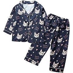 Conjunto de Pijama de Seda para bebé y niña, con Botones y Mangas largas, 2 Piezas, Azul Oscuro-Gato, 4-5 Años