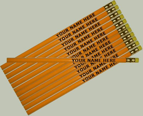ezpencils - Personalized Yellow Hexagon Pencils - 12 pkg - ** FREE PERZONALIZATION **
