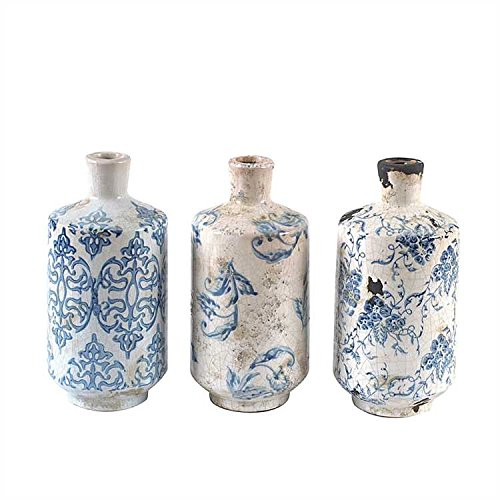 Blue & White Tall Transferware Pattern Terra Cotta Vases - Set of 3