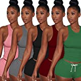 Short Sets Women 2 Piece Outfits for Women Sleeveless Split Casual Short Pants Casual Outfit Sportswear