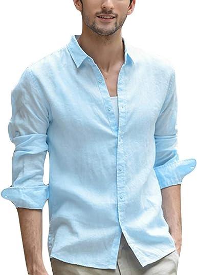 CRYYU Men Stand Collar Stripe Print Regular Fit Button Front Linen Long Sleeve Shirt