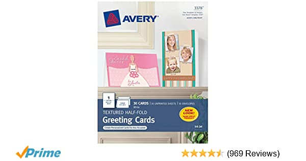 Amazon Avery 3378 Textured Half Fold Greeting Cards Inkjet 5 1 2 X 8 White Envelopes Included Box Of 30 Blank