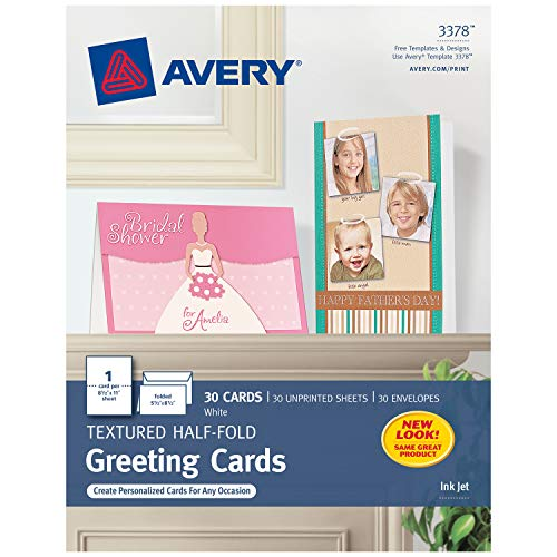 Avery 3378 Textured Half-Fold Greeting Cards, Inkjet, 5 1/2 x 8 1/2, White, Envelopes Included (Box of 30)