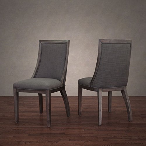Traditional Park Avenue Smoke Linen Dining Chair (Set of 2) in Reclaimed Dark Grey Oak Finish, Is Perfect for the Dining Room, the Home Office or Any Other Space in the Home For Sale