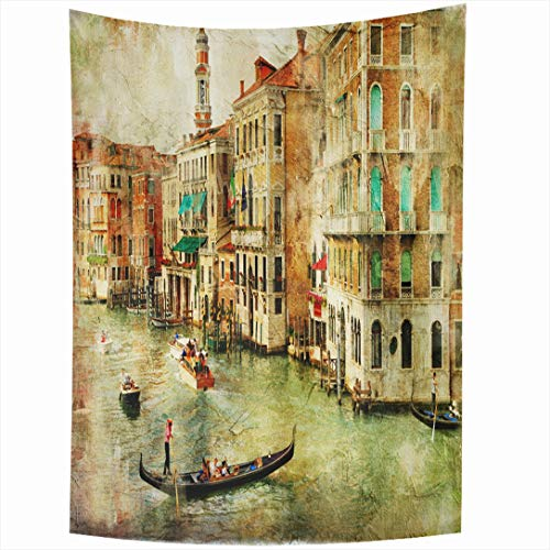 - Ahawoso Tapestry 60x90 Inch Paint Oil Amazing Venice Painting House Italy View City Italian Vintage Sunset Wall Hanging Home Decor for Living Room Bedroom Dorm