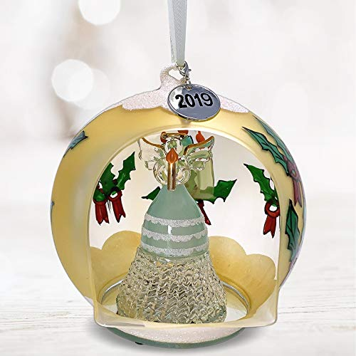 BANBERRY DESIGNS 2019 Dated Holiday Glass Ornament - Crystal Angel with Candle - Hand Painted LED Lighted Christmas Globe with Removable 2019 Charm -