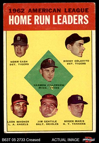 1963 Topps # 4 AL HR Leaders Harmon Killebrew / Roger Maris / Norm Cash / Rocky Colavito / Jim Gentile / Leon Wagner Tigers / Twins / Angels / Orioles / Yankees (Baseball Card) Dean's Cards 3 - VG Tigers / Twins / Angels / Orioles / Yankees ()