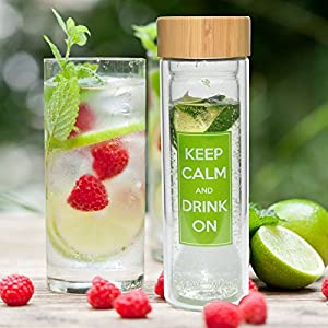 Best Infusion Water Bottle - Premium Fruit And Loose Leaf Tea Stainless Steel Infuser and Travel Tumbler Made of Double Walled Glass With A No Leak Bamboo Lid - Best Tea Infuser - Best Water Bottle