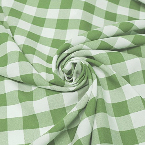 Big Checkered Gingham Poplin Woven Fabric (Apple Green)