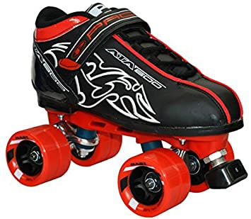 New Customized Pacer Black ATA-600 Quad Roller Speed Skates w Red Dart Wheels Mens 7