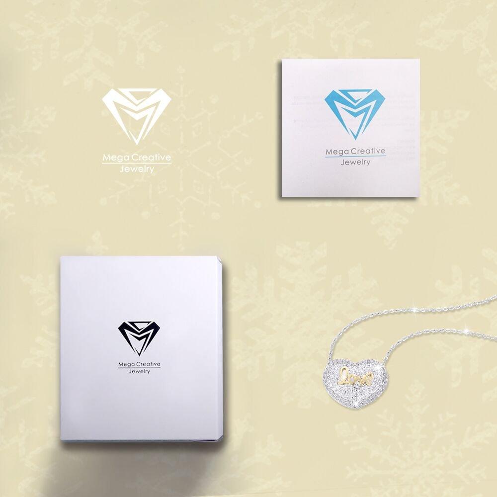 MEGA CREATIVE JEWELRY Collar de Corazón la Palabra Love para Mujer Hecho con Cristales: Amazon.es: Joyería