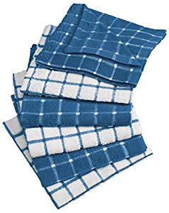 "DII Cotton Terry Windowpane Dish Cloths, 12 x 12"" Set of 6, Machine Washable and Ultra Absorbent Kitchen Bar Towels"