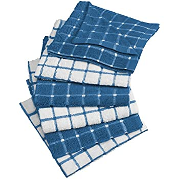 DII Cotton Terry Windowpane Dish Cloths Machine Washable, Absorbant and Multi-Use, 12x12, Blue