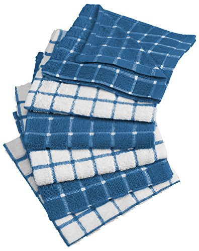 Navy Blue Ultra Food Bar (DII Cotton Terry Windowpane Dish Cloths, 12 x 12