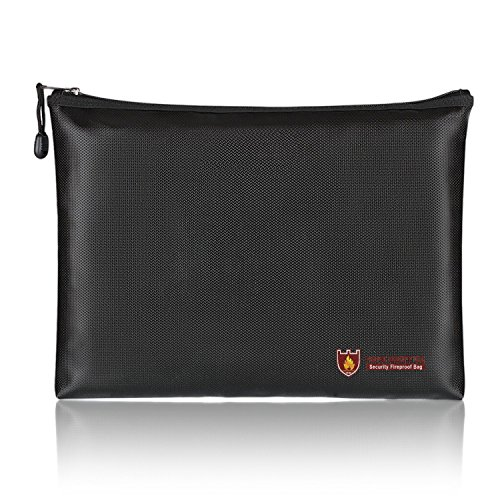 "Fireproof A4 File Bag Non-Itchy Zipper and Velcro Closure for File Pouch Silicone Coated Safe Fire&Water Resistant Money Purse (13.5""×9.8""×1.4"")"