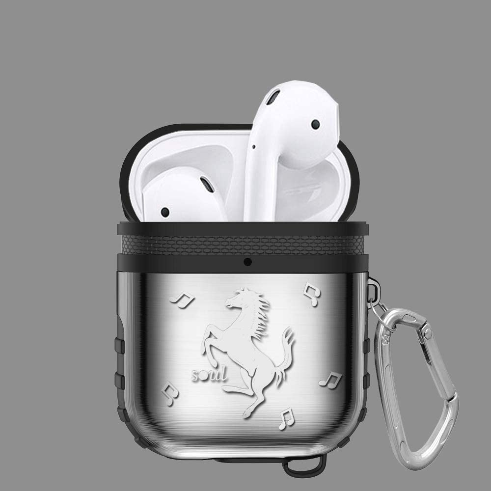 ICI-Rencontrer 3D Vivid Galloping Horse Airpods Case Creative Cool AirPods Accessories Metal Plating Soft Silicone Dual Layer Dual Protection Shock-Resistant Chargeable Headphone Case Keychain Black
