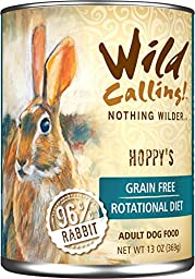 Wild Calling! 13oz Hoppy\'s 96% Rabbit Canned Dog Food (12 pack)