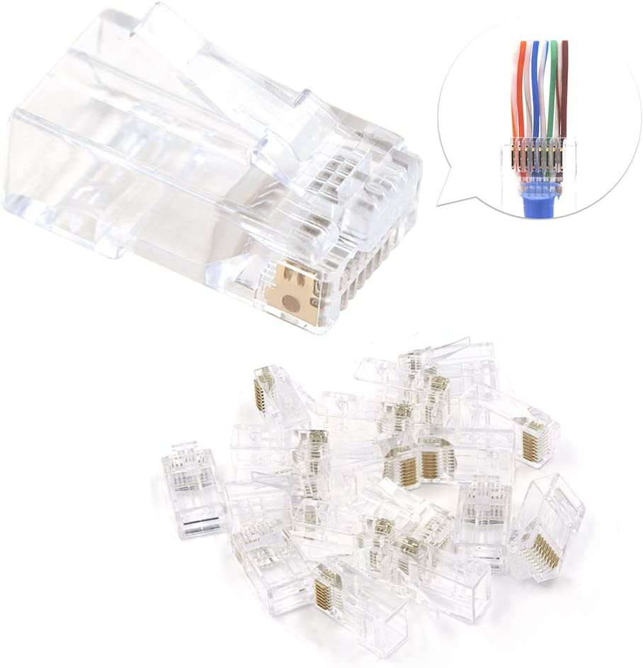 Connettore 50pcs Rj45 Cat6 8P8C Placcato Oro in Metallo Blu Schermato Ethernet Plug