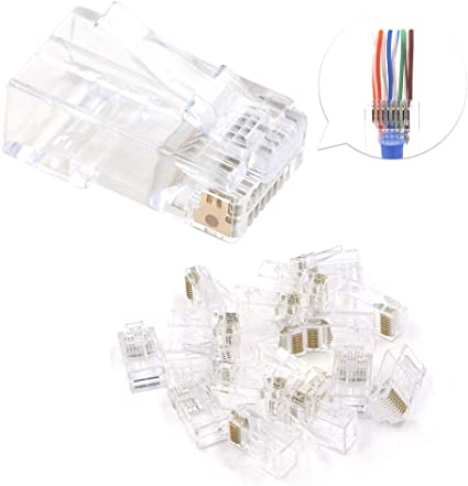 100 Pc CAT6 Plug EZ RJ45 Network Cable Modular 8P8C Connector End Pass Through U