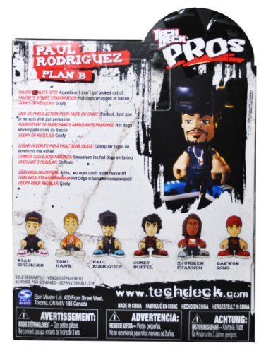 Tech Deck Pros Finger Skateboard 3-1/2 Inch Tall Pro Skater Action Figure Set - PAUL RODRIGUEZ ''Plan B'' with Fingerboard