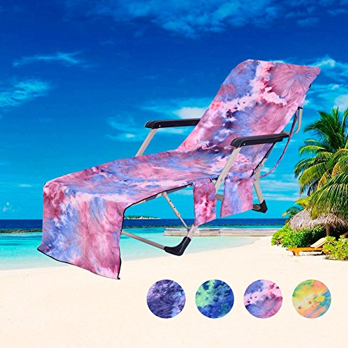 DoMii Lounge Chair Beach Towel Patio Chaise Cover with Side Pockets for Pool Lounger Chairs 82.5