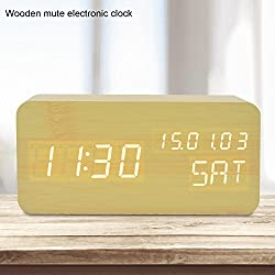 GO HAND Desktop LED Calendar Digital Alarm Clock Office Home Bedroom Snooze Wood Clock with Sound Control Function (Bamboo White Light)