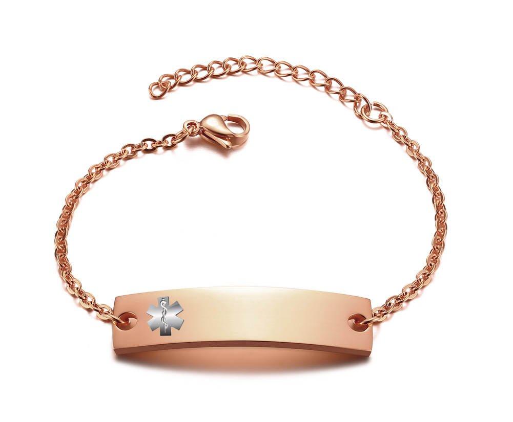 Personalized Bar Engraved Custom Free Engraving Medical Alert ID Bracelet for Women Girl,Adjustable,Rose Gold Plated