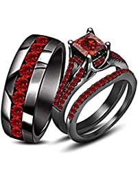 110ct princes cut red garnet his her trio ring set in black gold plated - Black Gold Wedding Ring