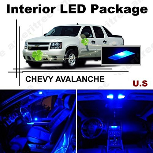 Ameritree CHEVY AVALANCHE 2007-2014 (13 Pieces) Blue LED Lights Interior Package and Blue LED License Plate Kit