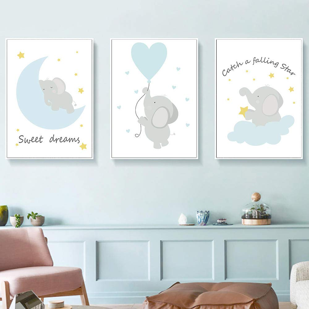 Nordic Poster Blue Elephant Star Canvas Painting Nursery Wall Art Boy Room Decoration Alphabet Wall Pictures for Kids Bedroom 30x40cmx3 with Frame